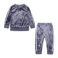 Clothing Sets 2021 Kids Baby Boys Girls Sports Striped Velvet Suit Autumn Spring Outfits 2Pc Set