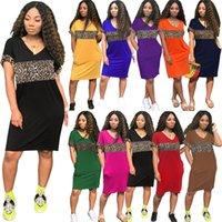 Women plus size mini dresses summer clothes sexy elegant leopard panelled v-neck long t-shirt holiday party pencil dress beachwear sportswear pocket stylish 01289
