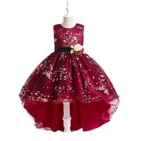 Girls Dresses Kids Clothes Children Clothing Princess Dress Mesh Print Evening Pageant Formal Wear Ball Gown B8233