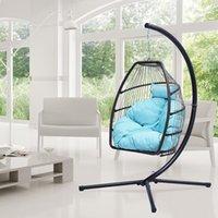 Pátio vime dobrável cadeira de suspensão Rattan balanço Hammock Ovo com suporte de tipo C para mobiliário de acampamento ao ar livre indoor