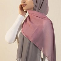 Scarves High Quality Scarf Soft Lightweight Breathable Georgette Shawl 2 Color Tone Ombre Gradient Chiffon Hijabs Hijab