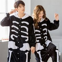 Kigurumi licorne onesie adulto mujeres miedo esqueleto unicornio pijamas hombre invierno franela cálida ropa de dormir jumpsuit pareja pijamas conjunto