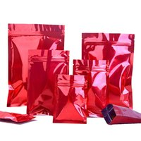 Storage Bags 100Pcs Glossy Red Mylar Foil Bag Self Seal Tear Notch Reusable Food Dry Fruit Nuts Candy Chocolate Packaging Pouches