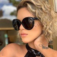 Lunettes de soleil Big Vintage Round Women Retro Marque Designer Robot Arm Sun Lunettes pour lunettes d'ombre Femme Eyewear Black UV400