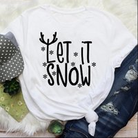 Snowflake Letter Snow Holiday Women Tops Short Sleeve Merry Christmas Graphic Tees Clothes Print Lady Female T Shirt