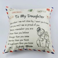 Letter Print Pillow case Cushion Cover To My Daughter Son wife Girlfriend Express Love Home Decor Soft Cozy Gifts