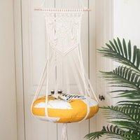 Chat lits meubles bohème choisi forte corde de coton matériau à la main pour animaux de compagnie hatch nid hamac balançoire balançoire mur presse panier beige facile à entrer