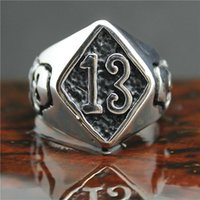 Cluster Rings 2021 Cool 316L Stainless Steel Biker 13 Skull Ring Mens Motorcycle Band Party