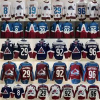 Eishockey Colorado Avalanche Jersey 8 Cale Makar 29 Nathan Mackinnon 92 Gabriel Landeskog 96 Mikko Rantanen 19 Joe Sakic Burgund Maroon Rot