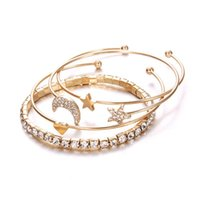 Heart-shaped Geometric Crystal Star Moon Bracelets For Women Fashion Alloy Gold Color Bangles Jewelry Party Gifts 4 Pcs Set Bangle