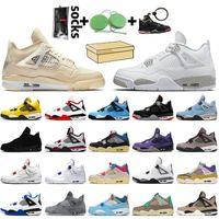 nike air retro jordan 4 off white jordan 4 travis scott stock x مع مربع القفز مان أحذية كرة السلة للرجال والنساء القط الأسود الاسمنت الابيض الأحذية الرياضية