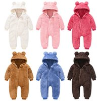 Cute Plush Bear Baby Rompers Toddler Girl Overall Jumpsuit Spring Autumn Hooded Zipper Baby Boys Romper Infant Crawling Clothing 211023
