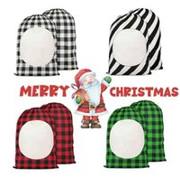Sublimation Blank Drawstring Bag DIY Christmas Eve Day Party Gift Bags Stripe Plaid Double Sided Printing Linen Packing Storages Hand Tote Ornaments