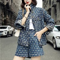 Women's Tracksuits Fall Female shorts wear casual European and American suit printed denim jacket set of two pieces YI1W