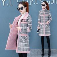 Women's Wool & Blends Jacket Women Coat Winter Plaid Mom Veste Manteau Femme