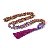 108 Rudraksha Beaded Knotted Halsband Natursten Markör Yoga Meditation Japa Mala Hälsosam Smycken Tassel Hängsmycke