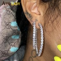 Hoop & Huggie 55mm Big Earrings For Women Round Circle Iced Out Bling 5A Cz Cubic Zirconia Earring Jewelry Fashion Female Wedding Gift