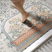 Bath Mats Bathroom Diatom Ooze Soft Carpet Mat Entrance Absorbent Quick-Drying Foot Toilet Non-Slip Vintage Printed