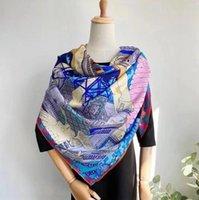 Женщины квадратный шелковый шарф Большие Twill Print Part Pails и Wraps Folyme Joker Дамы маленькие шарверы140 * 140см