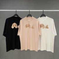Moda verão homens e mulheres camisetas mans palmas palmas estilista tee guilhotina urso impresso manga curta truncado ursos t-shirts