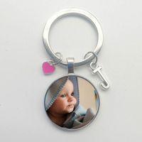 Yeni Sıcak El Yapımı Doğum Günü Adı Anahtarlık Fotoğraf Çocuk Anne Baba Hediye Aile Fotoğraf Kalpli Anahtarlık Mektup Anahtarlık