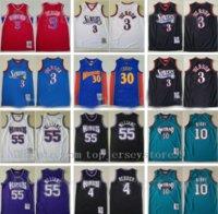 100% Dikişli Erkek Allen Iverson Jersey 3 Jason Williams 55 Chris Webber 4 Michael Mike Bibby 10 Stephen Körili 30 Basketbol Jersey S-2XL