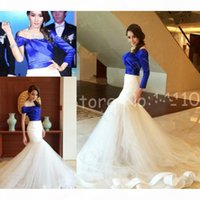Unique Royal Blue and White Evening Dresses With Sleeves Off The Shoulder Bateau Court Train Tulle Formal Prom Party Gowns Plus Size