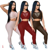 Plus Size Yoga Tracksuits for Women Sleeveless Sport Track Suit with Tight Perspective Pullover Sexy Vests Pants Suits XS-5XL