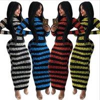 Casual Dresses 2021 Full-body Wrapped Striped Leopard Print Skinny Zipper Dress O-neck Full-sleeve Ankle Money Robe Soft Gothic