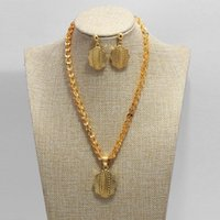 Earrings & Necklace African Wedding Jewelry Sets For Women Mama Gold Color Ethiopian Pendant Necklaces Middle Eastern Arab Bride Ornaments