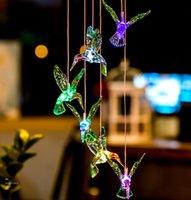 태양 램프 Hummingbird 바람 종소 방수 야외 조명 정원 빛, 색상 변경 홈 파티 마당 장식