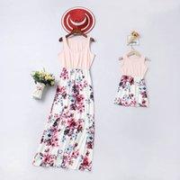 Familie Matching Outfits Mutter Tochter Kleider Kinder Kleidung Mädchen Kleidung Sommer Baumwolle Blume Lange Kinder Strand Kleid Lässige Mode B6296