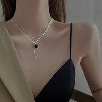 Pendant Necklaces Fashion Black Square Brand Necklace Female Clavicle Chain For Women Chains Crystal CN(Origin)
