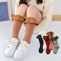 Chaussettes Haute Filles pour enfants pour enfants avec des chaussettes à volants en dentelle Kid Princess Girls Bébé jambe Chauffe en coton 1868 Z2