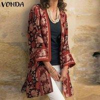 Women's Swimwear VONDA Women Cardigans Vintage Printed Long Outwear Femme Bohemian Streetwears Oversized Autumn 3 4 Sleeve Cardigan Covers-U