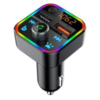 Car Bluetooth FM Transmitter Radio Players Adapter Wireless Handsfree Call Bass Sound MP3 Music RGB LED Backlit QC3.0 USB Charger
