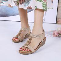 Sandales Été Femmes Perles en Bois Perle De Bohême Bohême Cendres Chaussures pour couleur unie Respirant Femme N6-151