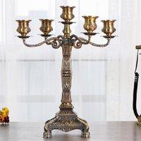 Tallado retro candelabro metal arte de lujo candelabros nórdico rotativo adornos de mesa romántica bugeoir casa decoración fc398