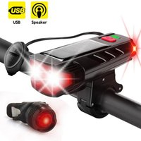 Edison2011 T6 Bike Front Torches Light with Horn 120dB Solar USB Charging Bicycle Headlight 5 Modes LED Cycling Lamp Flashlight 2000mAh