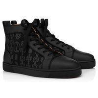 Luxury Designer High Top Men Women Shoes Couple Black Red Bottom Sneaker Brand Rivets Skateboard Walking Dress,Party EU35-47