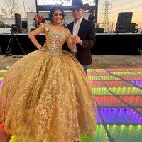 Altın Dantel Aplikler Quinceanera Elbiseler Kapalı Omuz Kristal Tatlı 15 Elbise Kabarık Genç Kız Doğum Günü Partisi Abiye