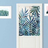 Carpets Watercolor Blue Red Plant Graphic Linen Material Door Curtain Study Bedroom Home Decor Tapestry Kitchen