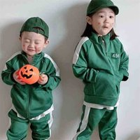 Kids children squid game tracksuit unisex green color No.456 hoodie outfits jacket coat tops pants two piece fleece sportswear winter suit cosplay customes G052QPT