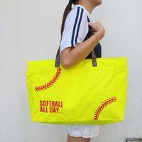 Bordado Softallball Duffel Bag GA Warehouse Softbol-All-Day Amarillo Lona Tote Gran capacidad Bolsas de viaje al aire libre Occidental Casual Llevar Purse Domil1477