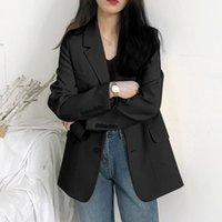 Korea Women Loose Blazers Beige Black England Style Office Lady Work Suits 2021 Woman Spring Autumn Single Breasted Women's &
