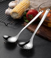 304 Stainless steel spoon colander Utensils lengthened thickened light pot male drain wall spoons cooking tools GWF7119
