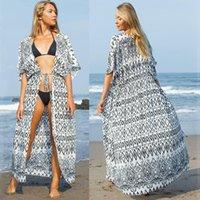 기모노 카디 건 비치 커버 위 여성 수영복 시폰 kaftan boho maxi long bikini swimsuit cover-ups 여성