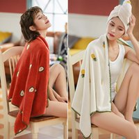 Towel Fashion Coral Fleece Embroidered Bath Absorbent And Skin-Friendly Comprehensive Dry Hair
