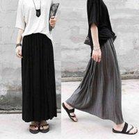 캐주얼 드레스 가을 겨울 면화 탄성 하이 허리 맥시 스커트 Womens 패션 Streetwear 빈티지 Falda Pleated 긴 스커트 여성 Saia Longa KD87