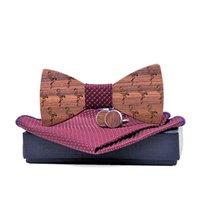 Взрослый деревянный галстук бабочки Hanky запонки набор для мужского костюма платок древесины боути Гравила Cravat галстуки с коробкой шеи